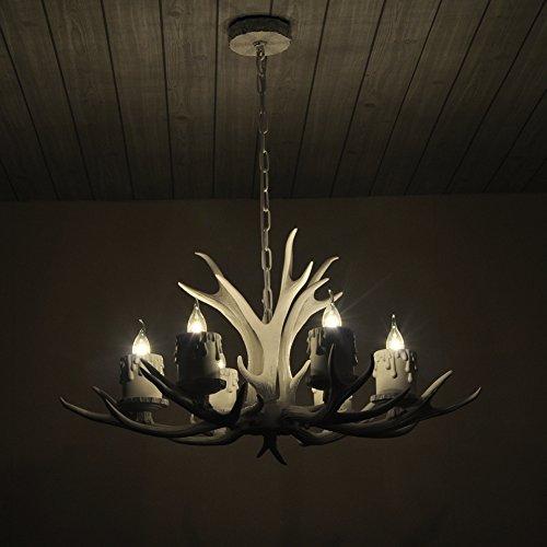Shengdi corno di cervo 6-Light ferro industriale vintage lampadario a soffitto della lampada della lampada per Ristorante balcone Camera con paralume 1027C-6-3it (White)