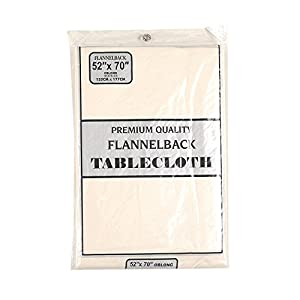 Carnation Home Fashions Vinyl Tablecloth with Polyester Flannel Backing, 52-Inch, by 70-Inch, Ivory