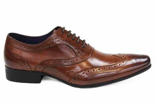 Mens Gucinari Tan Leather Gents Brogues Shoes Size 7 (G976T)