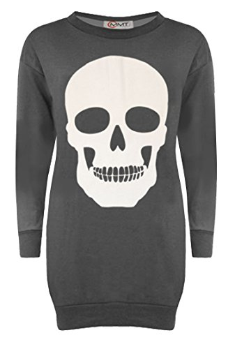 New Women Halloween Large Skull Print Long Fleece Sweatshirt Pullover Jumper Top