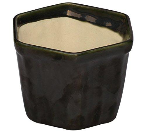 souvnear-planter-plant-pot-garden-79-cm-ceramic-hexagonal-decorative-handmade-flower-herb-plant-oliv