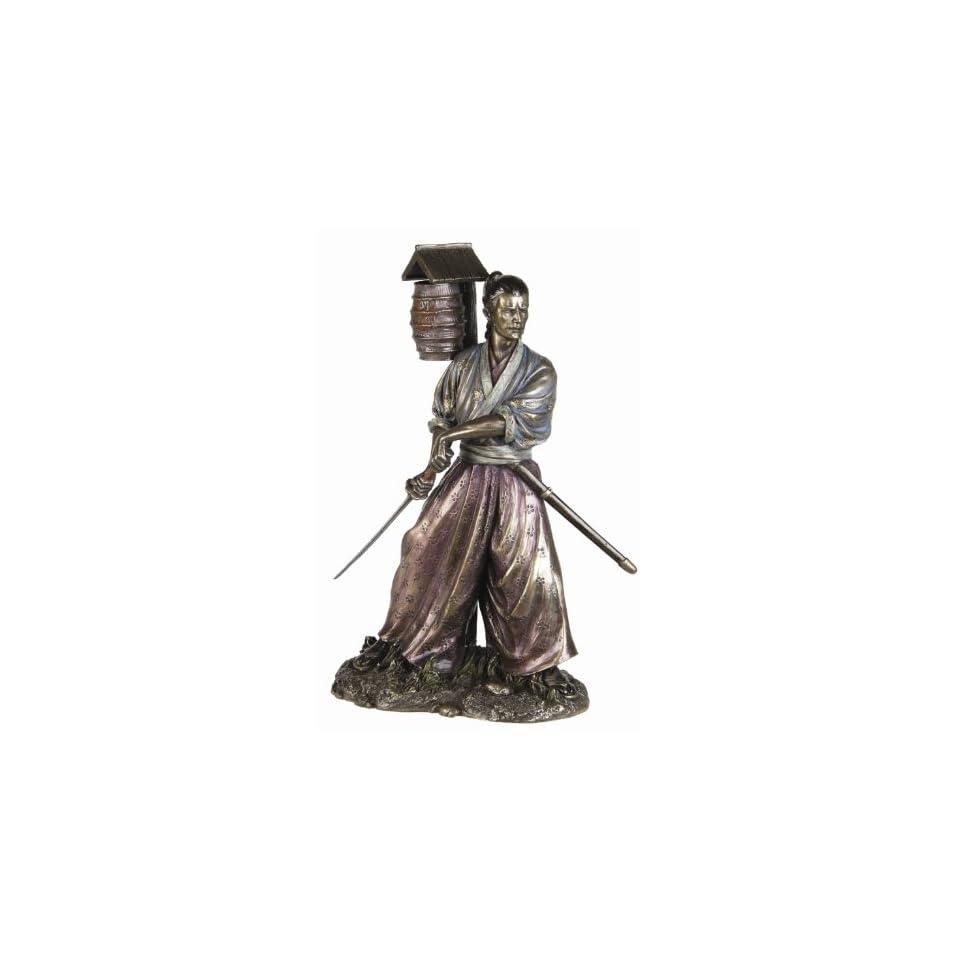 Samurai Warrior Kenjutsu Bronze Fiishing Statue Figurine