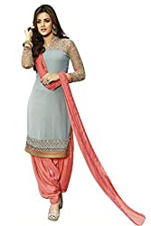 Kvsfab Women's Georgette Salwar Suit Dress Material(KVSSK3056ZOYA_1_Grey)