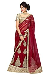 Ishin Velvet Net Party Wear Embellished Red Lehenga