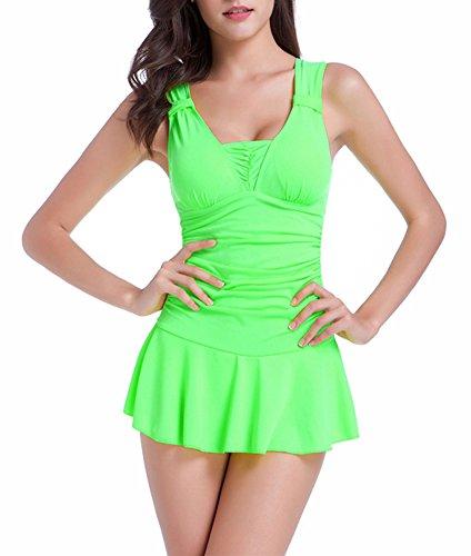 FASHION BIKINI Womens Push Up Tankini Bikini Swimsuit (Large, Green)