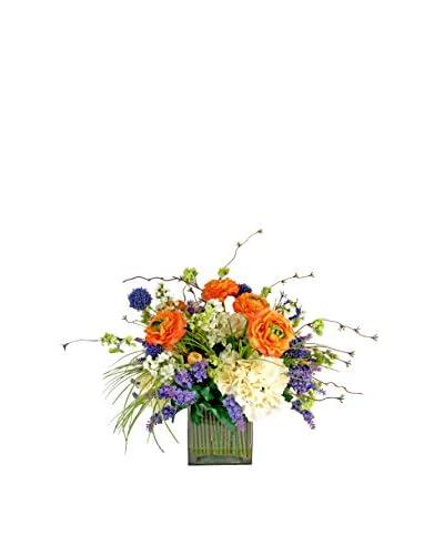 Creative Displays Ranunculus and Heather Spring Bouquet, Orange/Purple/White/Green