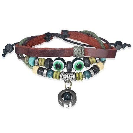Bali Collection Wrap Rope Evil Eyes Bali Wood Beads Circle Charm Adjustable Leather Bracelet