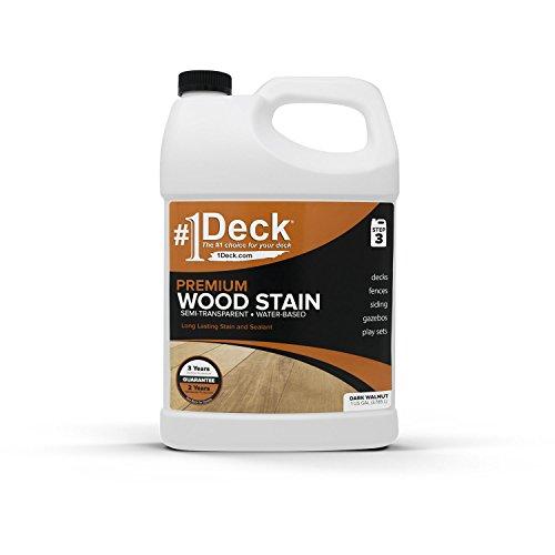 #1 Deck Premium Wood Stain for Decks, Fences, & Siding – 1 Gallon (Dark Walnut)