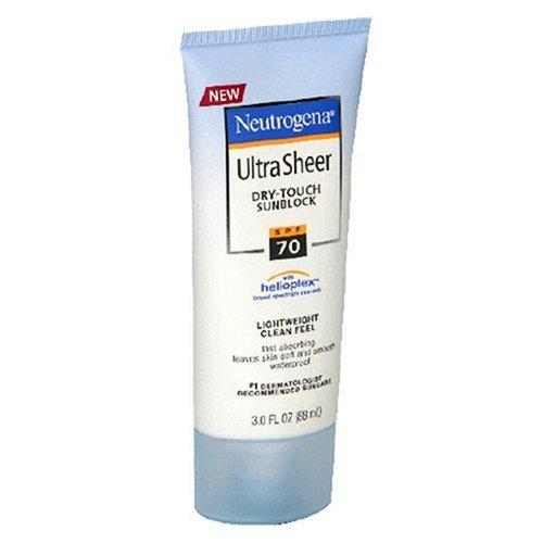 Neutrogena Ultra Sheer Dry-Touch Sunblock, SPF 70, 3-Ounce Tubes (Pack of 2) Plus Bonus 1 oz Travel Size Total 7.0 oz