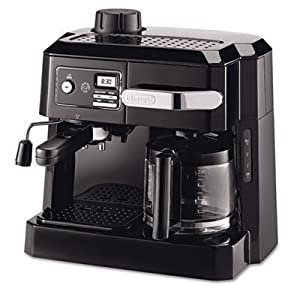 DeLonghi Combination Espresso and Drip Coffee Maker, 3 In 1 Combination, Advanced Water Filtration, 24-Hour Programmable Timer, Pause 'n Serve Feature, 10-Cup Drip Coffee Carafe, Black by DeLonghi