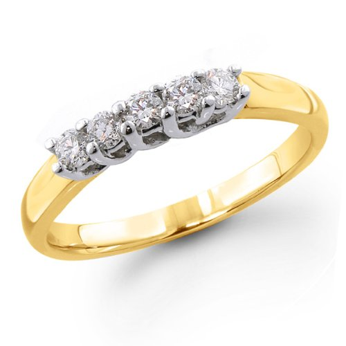 14K Yellow Gold 1/4 ctw. Five - Stone Diamond Wedding / Anniversary Band (G-H;SI1-2) Size 5