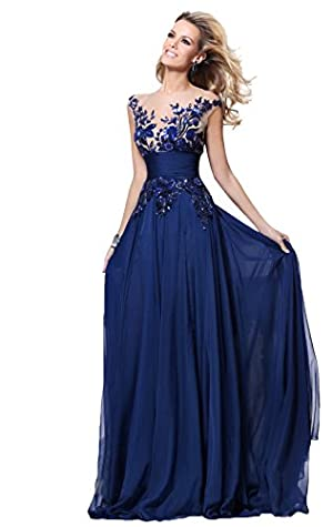 Babyonlinedress Navy Blue Long Prom Lace Dresses Evening Gowns