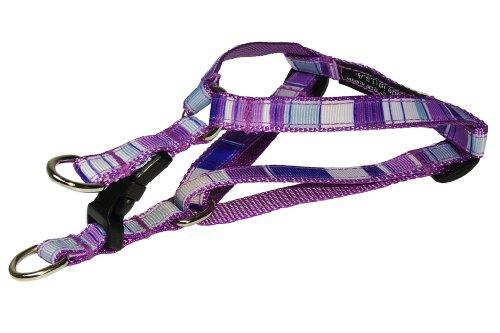 Sassy Dog Wear 8-16-Inch Purple/Multi Stripe Dog Harness, X-Small