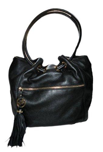 MICHAEL Michael KorsMichael Kors Charm Tassel Genuine Leather Large Ring Tote Black