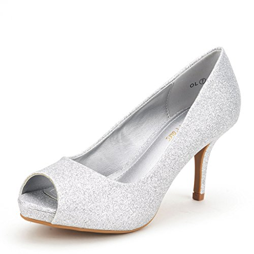 DREAM PAIRS OL Women's Elegant Open Toe Classic Low Heel Wedding Party Platform Pumps Shoes SILVER GLITTER SIZE 5
