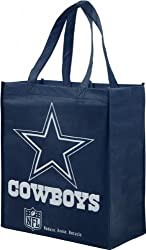 NFL Dallas Cowboys Printed Non-Woven Polypropylene Reusable Grocery Tote Bag, Blue