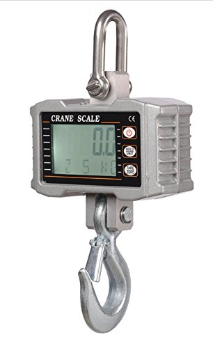 Klau 500 kg 1000 lb Aluminum Weighing Smart Crane Scale Heavy Duty Digital Industrial Hanging Scales 0.05 kg / 0.11 lb Resolution LCD Display with Backlight Silver