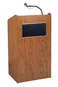 "Oklahoma Sound 6010-MO Aristocrat Floor Sound Lectern, 25"" Width x 46"" Height x 20"" Depth, Sound, Medium Oak"