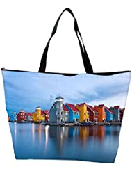 Snoogg Colorful Houses By The Lake World Designer Waterproof Bag Made Of High Strength Nylon