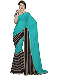 Ishin Georgette Blue & Royal Blue Printed Fancy Saree