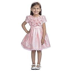 Western Look Styliest Modern Pink Rose Flower Dress - 4-5 Years
