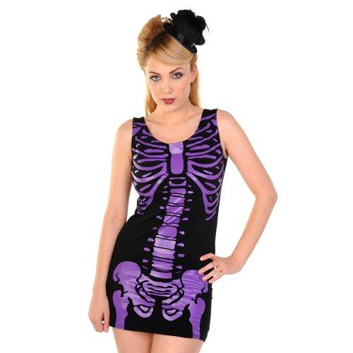 Banned Dress SKELETON DRESS DBN522 black-purple S