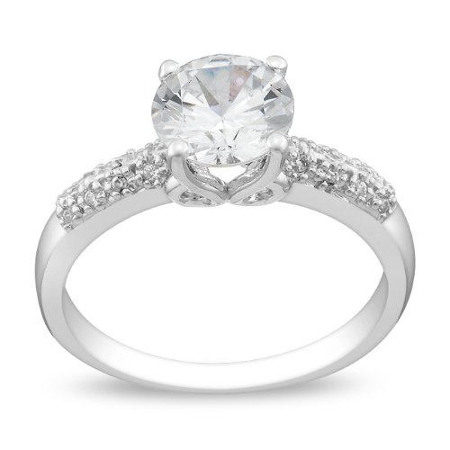 Sterling Silver 3 1/2 CT TGW Round White Cubic Zirconia Engagement Ring