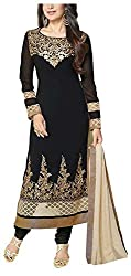 Poonam Fab Women's Chiffon Unstitched Salwar Suit (Black)