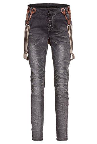 Livre Boyfriend-Jeans Mit Hosenträger, Damen, Größe 38, dunkelgrau