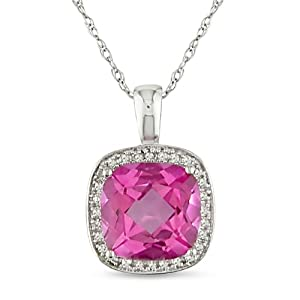 10k White Gold, Diamond and Pink Sapphire Pendant with Chain, (.01 cttw, GH Color, I2-I3 Clarity), 17""