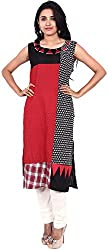 Touch Patiala Women's Cotton Regular Fit Kurta (Red, X-Large)