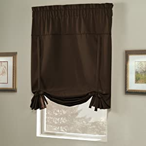 united curtain blackstone blackout tie up shade 40 by 63 inch chocolate home. Black Bedroom Furniture Sets. Home Design Ideas