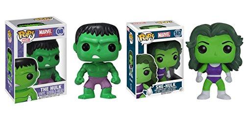 Funko-POP-Marvel-Universe-The-Hulk-and-She-Hulk-Bobble-Head-Toy-Action-Figure-2-Piece-BUNDLE