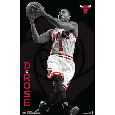 Derrick Rose Chicago Bulls NBA Sports Poster - 11x17 custom fit with RichAndFramous Black 11 inch Poster Hangers at Amazon.com