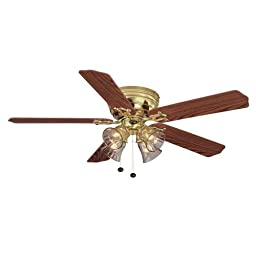 Hampton Bay Carriage House 52 in. Indoor Ceiling Fan polished brass