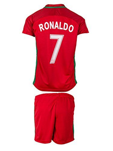 NEW! Portugal UEFA Euro 2016 #7 Ronaldo Home Soccer Kids Jersey & Shorts - Youth Sizes (L - (8-9 Ages))