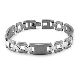 Men's Grey Titanium X-Link Bracelet, 8.5