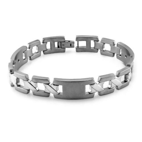 Men's Grey Titanium X-Link Bracelet, 8.5″