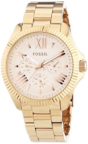 Fossil Cecile - Reloj de cuarzo para mujer, correa de acero inoxidable color oro rosa