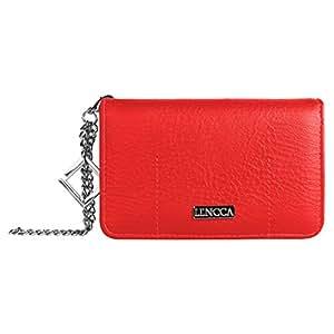 Lencca Kymira Vegan Leather Smartphone Clutch Wallet Purse with Removable Chain Wrist Strap - Magenta/Plum