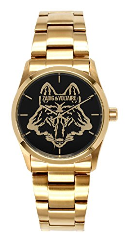 Zadig Voltaire ZV &007L/Rock am-Unisex Watch Analogue Quartz Black Dial Gold Plated Steel Bracelet
