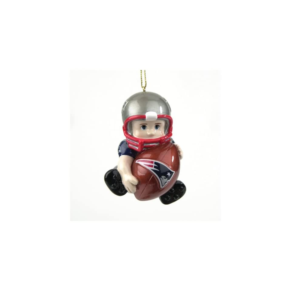 Pack of 8 NFL New England Patriots Lil Fan Football Player Christmas Ornaments