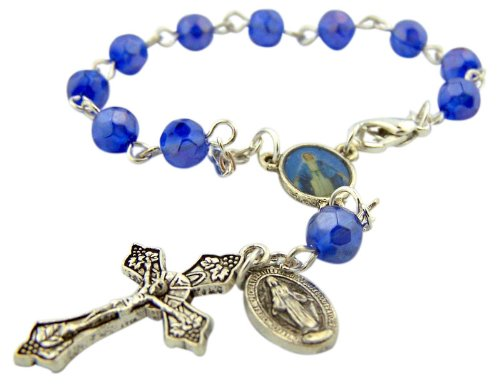 """Catholic Gift Our Lady Of Grace Miraculous Mary Travel Protection 6Mm Blue Glass Bead 5 3/4"""" Rearview Mirror Car Truck Auto Rosary"""
