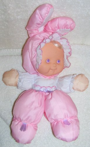 "1991 Fisher Price Puffalumps 12"" Pink Easter Puffalump Kid Dressed As Bunny"