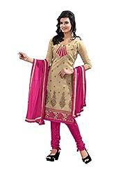 DKS Designers Women's Chanderi Unstitched Dress Material (PARI208_Beige_Free Size)