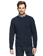 XS Blue Harbour Extrafine Pure Lambswool Crew Neck Striped Jumper