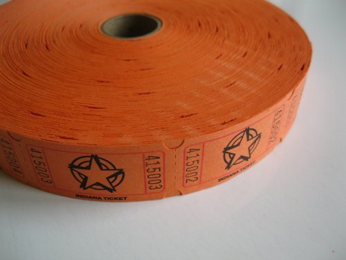1 X 2000 Orange Star Single Roll Consecutively Numbered Raffle Tickets (Event Tickets Numbered compare prices)