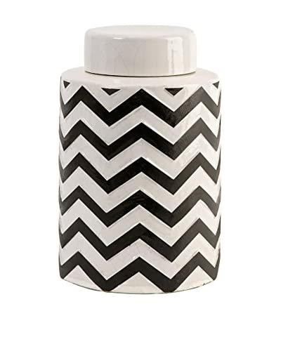 Chevron Canister with Lid, Small, White/Black