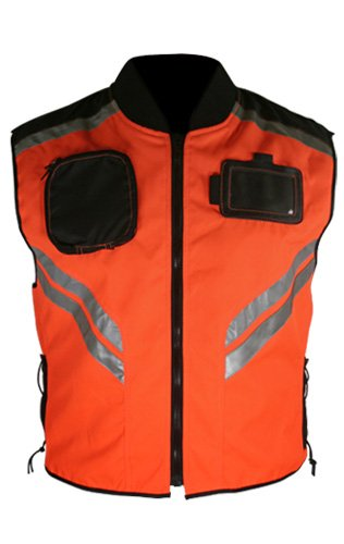 Xelement Mens Tri-Tex Fabric Orange Safety Vest with Reflective Stripes