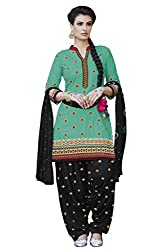 Kvsfab Teal & Black Pure Cotton Embroiderd Patiala un-stitched Dress Material